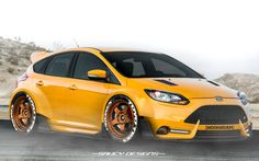 ford focus ST, widebody modded photoshop render