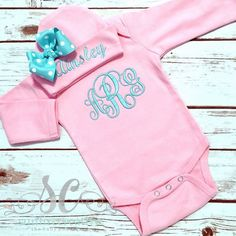 Items similar to Girls Monogram Bodysuit - Newborn Coming Home Outfit - Baby Girl Gift - Bodysuit abd Beanie Hat - Girl Hat with Bow - Pink Girl Outfit on Etsy Baby Girl Gifts, My Baby Girl, Baby Love, Pink Girl, Toddler Outfits, Kids Outfits, Newborn Coming Home Outfit, Girl With Hat, New Baby Products