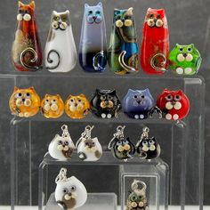 Amazing hand-made fused-glass feline jewellery