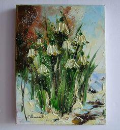 Snowdrops Original Oil Painting Impasto Palette Flowers Impression Europe Artist #Impressionism