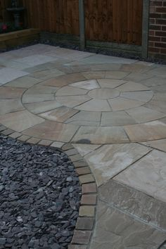 Our own Indian Sandstone in Sunset, using slates chippings as a contrast to the buff, pink and orange tones. Backyard, Patio, Amazing Gardens, Contrast, Sidewalk, Exterior, Indian, Sunset, Orange