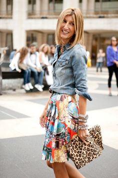 denim shirt, printed & Pleated skirt