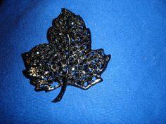 Vintage Jet Black Rhinestones Leaf Pin  by LFTreasuredCreations, $7.50