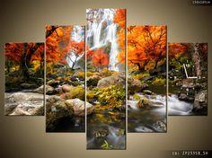 jesienny wodospad - obraz z zegarem tzw. fotozegar