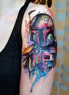 Watercolor Mando by William (Bill) Volz, Immortal Images, Charlotte. aka the sickest Star Wars tattoo I've ever seen.