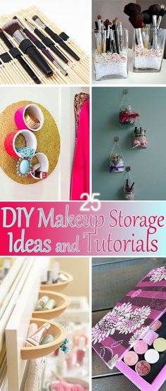 25 DIY Makeup Storage Ideas and Tutorials • Lot's of tutorials and projects for you to try for all of the beauty needs!