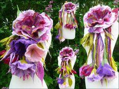 felted wool flower necklace lariat belt scarf by FeltedArtToWear