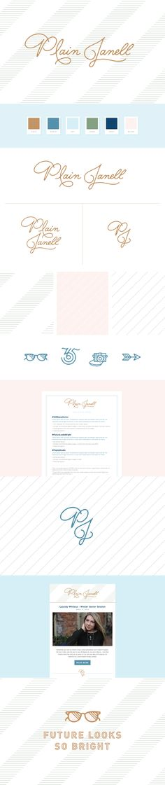 Plain Janell by Melissa Yeager Brand Guide, Brand Style Guide, Graphic Design Print, Freelance Graphic Design, Logo Inspiration, Brand Identity Design, Branding Design, Brand Fonts, Photography Branding