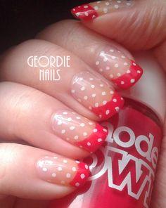 Red & Polka Dot French Manicure xx