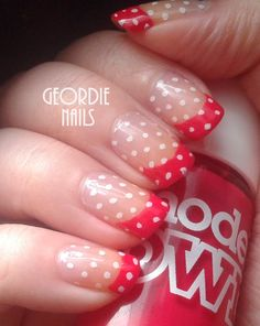 Red  Polka Dot French Manicure xx