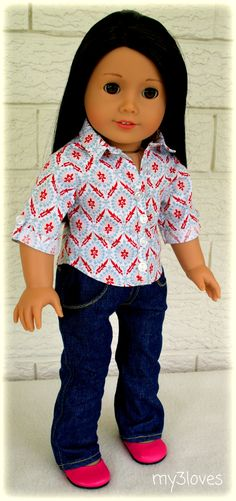 Cute example of the LJ Button-up shirt! Shirt handmade by my3loves on Etsy. Pattern by #LibertyJane http://www.pixiefaire.com/products/button-up-shirt-18-doll-clothes
