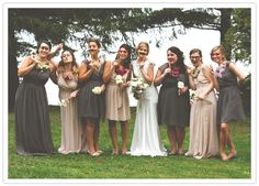 i am into the two tones of dresses in this goofy bridal party portrait