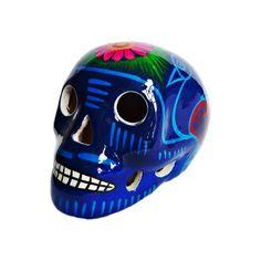 Un splendide crâne mexicain peint à la main. #crane #mexicain #têtedemort #mexicaine #orange #mexican #skull #ceramic