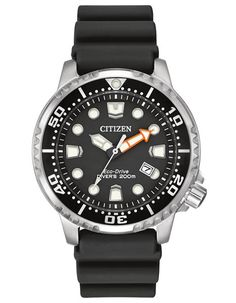 Dive confidently with this ISO certified dive watch from the Citizen Eco-Drive collection featuring a solar powered movement and durable polyurethane strap. - ISO compliant dive watch - Stainless stee