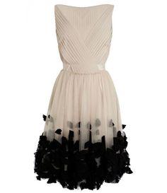 Appliqued Petal Knee Length Dress