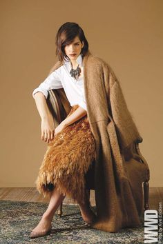 www.chezagnes.blogspot.com  Fall 2014 Trend: Cozy Evening Houghton's mohair coat over Turnbull & Asser's cotton shirt and Peter Som's polyester an...