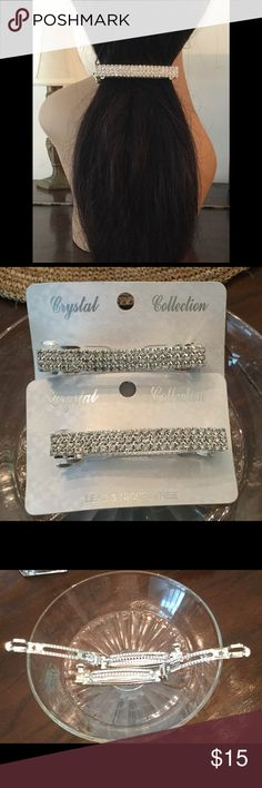 Bling Bling Hair Accessories 2 Large Silver Rhinestone Hair Barrettes. Lead/Nickel Free. Gorgeous with any style hair doo. *Brand New.. Never Worn. Easy clasp for holding hair in place. Crystal Collection Accessories Hair Accessories