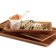 American Metalcraft Rectangular Bamboo Tray - 14 inch x 7 inch Wooden Serving Trays, Serving Platters, American Metalcraft, Bamboo Construction, Finger Foods, Dinnerware, Catering, Buffet, Snacks