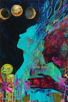 "Print of ""Listen Deep"" Original Acrylic Painting -- Turquoise, Teal, Magenta, Pink, Cosmic, Triangle, Lunar Eclipse"