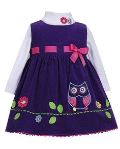 "ADORABLE purple ""Owl"" corduroy jumper dress and bodysuit 2pc set for your baby girl by Bonnie Jean.  (sz. 12m - 24m)"