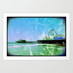 Blue Santa Monica Pier Art Print by Christine aka stine1 - $24.96  Blue Santa Monica Pier     Greenish blue photo edit of the Santa Monica Pier in Los Angeles, California.