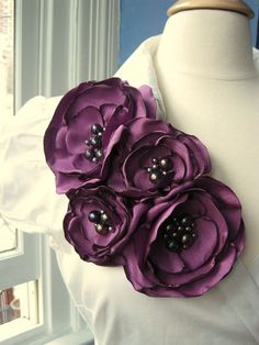 fabric flower brooch   four bloom  corsage pin in by RiRiFisch, $130.00: