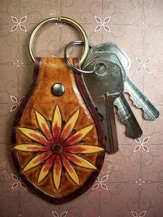 Hand tooled leather key fob
