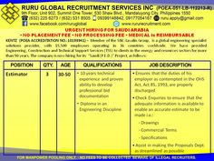 Kentz Saudi Arabia Hiring for Junior Procurement Officer, Estimator, Senior Estimator and Purchaser Visit us at: http://www.rururecruitment.com/contact.html Estimator  30 to 50 years old 10 years technical experience and proven ability to develop professional bid documentation Diploma in an Engineering Discipline