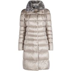 Herno Taupe Fur Trimmed Quilted Shell Coat (9.550 CZK) ❤ liked on Polyvore featuring outerwear, coats, jackets, quilted coat, shell coat, feather coat, zipper coat and herno