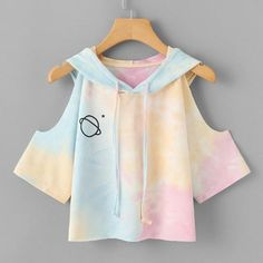 ROMWE Open Shoulder Water Color Hooded Tee Shirt 2018 Multicolor Sleeve Tie Dye Women Top Drawsting Casual Crop T Shirt - Women's style: Patterns of sustainability Teen Fashion Outfits, Outfits For Teens, Girl Outfits, Casual Outfits, Casual Shirts, Lazy Outfits, Fashion Clothes, Kawaii Fashion, Cute Fashion