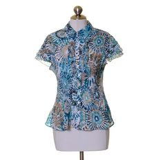 East 5th White Teal Beige Print Crinkled Ruffle Trim Cap Sleeve Blouse Size PL #East5th #Blouse #Casual