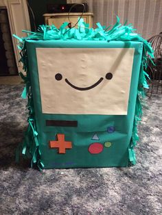 I made this Beemo piñata for my son's Adventuretime birthday! So easy and it costs about $3 to make!!