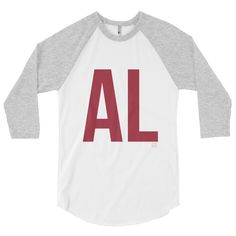 - Printed on American Apparel Unisex grey and white baseball tshirt - Ink is Alabama Crimson - Model is wearing a small                                                                                                                                                     More