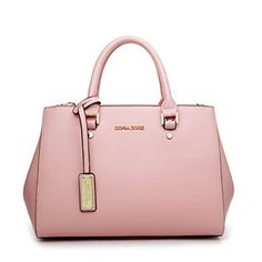 MissFox Women Classic Retro PU Leather Cross Pattern Shoulder Bags Handbag Nude Pink