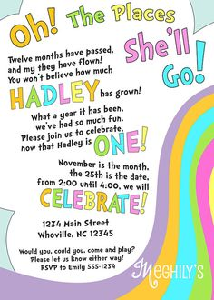 Oh The Places You'll Go - First Birthday Party Invitation