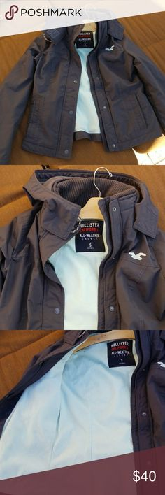 HOLLISTER ALL WEATHER Jacket Size Small Charcoal grey Hollister all weatjer jacket - EXCELLENT Lightly used condition - see all pics Hollister Jackets & Coats