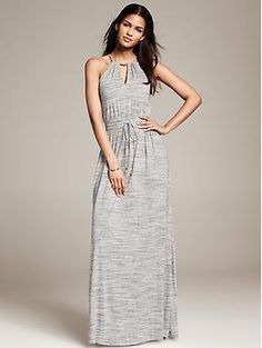 Grey Knit Patio Dress | Banana Republic
