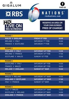 6 Nations Rugby @ Gigalum (7-8 cavendish parade, london, SW4 9DW, United Kingdom) . On Friday February 06 - Saturday March 21, 2015 at 8:00 pm - 11:55 pm . Gigalum will be hosting the full 6 Nations Rugby live. Artists : Hilton Caswell, Ben Yong . Price: Free . Category: Bars / Pubs | Bars .