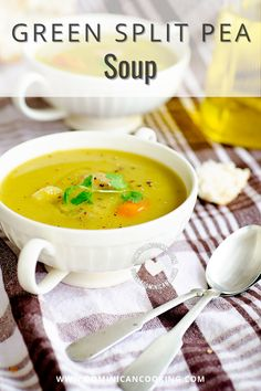 This creamy, filling Green Split Pea Soup is perfect for dinner on those fresh spring nights. Green Split Pea Soup, Green Peas, Chicken Sausage, Coriander, Cilantro, Potatoes, Cooking, Kitchen, Potato