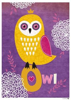 Owl Princess A4print by marlasea on Etsy : look at that crown :D