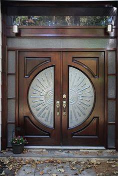 Main Entrance Door Design, Wooden Front Door Design, Double Door Design, Home Entrance Decor, Door Gate Design, Wood Front Doors, Wooden Glass Door, Wooden Doors, Bay Window Exterior