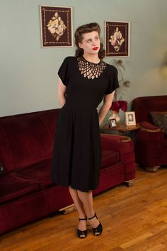 1940s Vintage Dress Gorgeous Black Rayon Crepe 40s by FabGabs