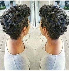 Curly hair and pixie cut can go with together beautifully! There are beautiful examples of curly hair below. We have gathered Pixie Cut for Curly Hair to. Curly Pixie Hairstyles, Black Women Hairstyles, Hairstyles With Bangs, Curly Hair Styles, Natural Hair Styles, Gorgeous Hairstyles, Formal Hairstyles, Short Pixie, Short Hair Cuts