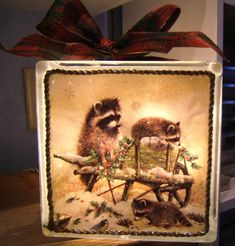Raccoon Lighted Glass Block by leekl - Cards and Paper Crafts at Splitcoaststampers Painted Glass Blocks, Decorative Glass Blocks, Lighted Glass Blocks, Christmas Signs Wood, Christmas Crafts, Xmas, Glass Block Crafts, Wood Craft Patterns, Block Painting