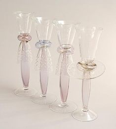 Clear glass glasses 4x with tinted stem and engraved decoration of which three Enrico III and one Enrico II design Bořek Šípek 1988 executed by Ajeto / Bohemia for the Follies series of Driade