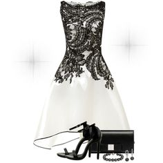 A fashion look from January 2015 featuring white lace cocktail dress, black high heel sandals and snap bag. Browse and shop related looks.