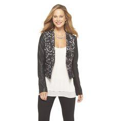 Faux-Leather Sleeve Lace Jacket - XOXO