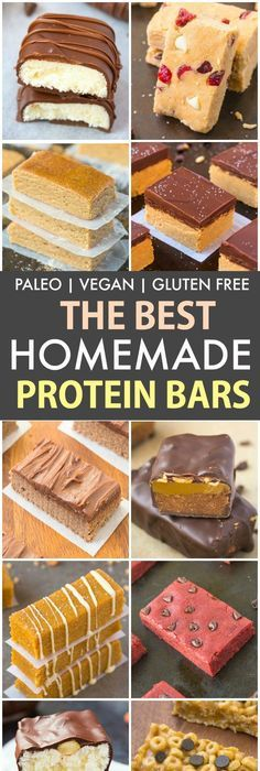 The Best Healthy Homemade Protein Bar Recipes P V GF DF Easy quick and delicious homemade protein bar recipes which take minutes to make A portable low carb and low sugar. Healthy Protein Bars, Protein Bar Recipes, High Protein Low Carb, Low Carb Recipes, Healthy Snacks, High Protein Vegetarian Foods, High Protein Snacks Healthy, Best Protein Foods, Home Made Protein Bars