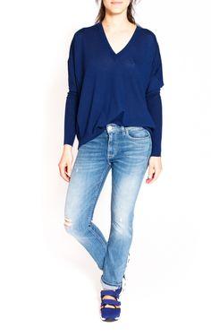 Blue Calla merino wool pullover designed by Acné Studios