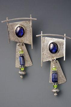 Earrings | Patricia Reinking.  Sterling silver, Labradorite, peridot